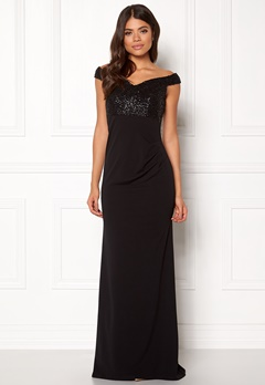 Goddiva Bardot Sequin Maxi Dress Black Bubbleroom.no