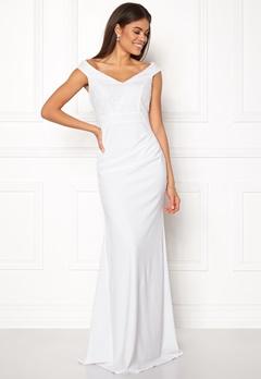 Goddiva Bardot Sequin Maxi Dress Cream Bubbleroom.no