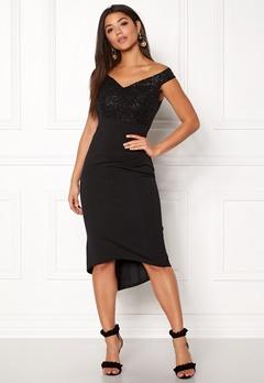 Goddiva Bardot Sequin Midi Dress Black Bubbleroom.no