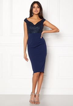Goddiva Bardot Sequin Midi Dress Navy Bubbleroom.no