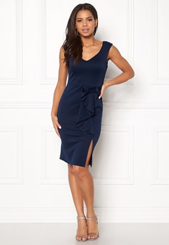 Goddiva Bow Detail Midi Dress Navy Bubbleroom.no