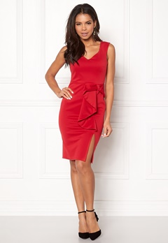 Goddiva Bow Detail Midi Dress Red Bubbleroom.no