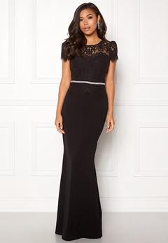 Goddiva Cap Sleeve Lace Dress Black Bubbleroom.no