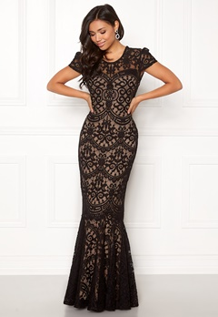 Goddiva Cap Sleeve Lace Dress Black/nude Bubbleroom.no