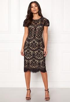 Goddiva Cap Sleeve Lace Dress Black/nude Bubbleroom.no