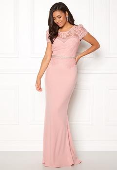 Goddiva Cap Sleeve Lace Dress Blush Bubbleroom.no