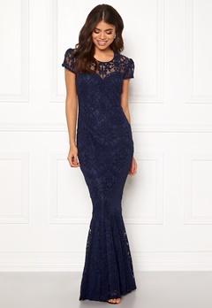 Goddiva Cap Sleeve Lace Dress Navy Bubbleroom.no