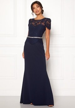 Goddiva Cap Sleeve Lace Dress Navy Bubbleroom.no