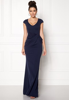 Goddiva Cap Sleeve Maxi Dress Navy Bubbleroom.no