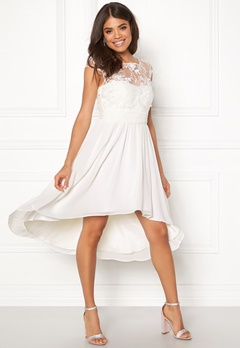 Goddiva Chiffon High Low Dress White Bubbleroom.no