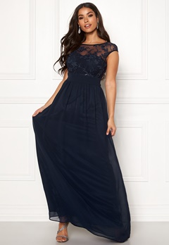 Goddiva Chiffon Maxi Flower Dress Navy Bubbleroom.no