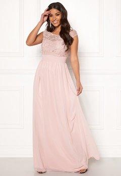Goddiva Chiffon Maxi Flower Dress Rose Bubbleroom.no