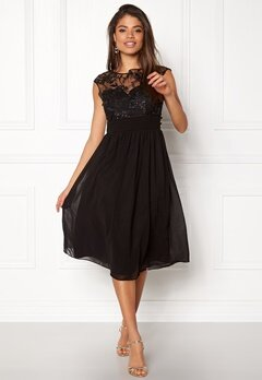 Goddiva Chiffon Midi Flower Dress Black Bubbleroom.no