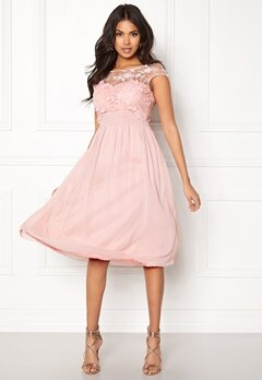 Goddiva Chiffon Midi Flower Dress Rose Bubbleroom.no