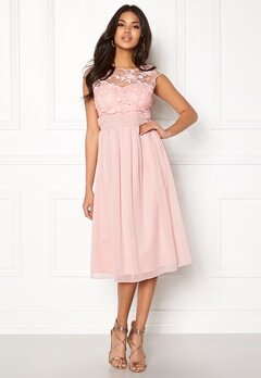 Goddiva Chiffon Midi Flower Dress Rose Bubbleroom.no