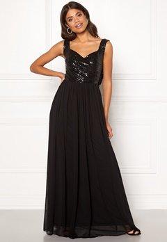 Goddiva Cowl Back Sequin Dress Black Bubbleroom.no