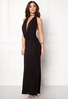 Goddiva Cowl Neck Maxi Dresss Black Bubbleroom.no