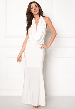 Goddiva Cowl Neck Maxi Dresss White Bubbleroom.no