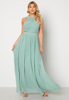 Goddiva Cross Front Chiffon Maxi Dress Sage Green bubbleroom.no