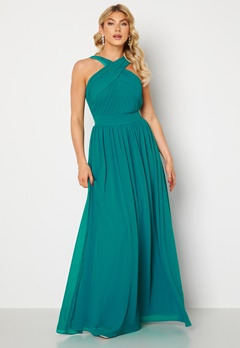 Goddiva Cross Front Chiffon Maxi Dress Sapphire Bubbleroom.no