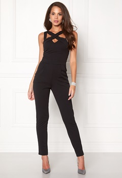 Goddiva Cross Over Strap Jumpsuit Black Bubbleroom.no