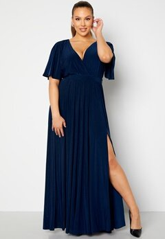 Goddiva Curve Flutter Sleeve Maxi Dress Navy bubbleroom.no