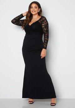 Goddiva Curve Long Sleeve Lace Trim Maxi Dress Black bubbleroom.no