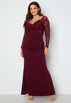 Goddiva Curve Long Sleeve Lace Trim Maxi Dress Dark Wine bubbleroom.no