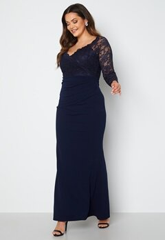 Goddiva Curve Long Sleeve Lace Trim Maxi Dress Navy bubbleroom.no
