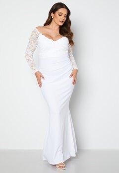 Goddiva Curve Long Sleeve Lace Trim Maxi Dress White bubbleroom.no