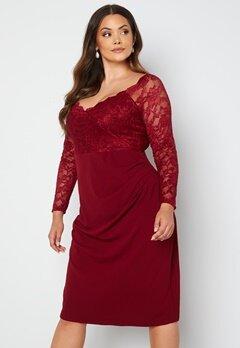Goddiva Curve Long Sleeve Lace Trim Midi Dress Wine bubbleroom.no