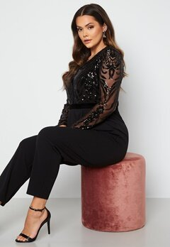 Goddiva Curve Sequin Bodice Jumpsuit Black bubbleroom.no