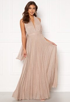 Goddiva Deep V Neck Glitter Dress Blush Bubbleroom.no
