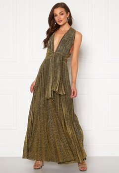 Goddiva Deep V Neck Glitter Dress Gold Bubbleroom.no