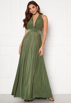Goddiva Deep V Neck Maxi Dress Olive Bubbleroom.no