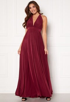 Goddiva Deep V Neck Maxi Dress Wine Bubbleroom.no
