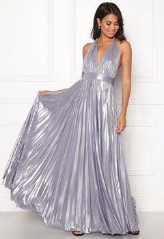 Goddiva Deep V Neck Metallic Dress Lavender Bubbleroom.no