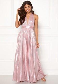 Goddiva Deep V Neck Metallic Dress Pink Bubbleroom.no
