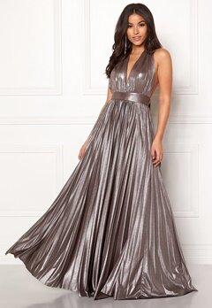 Goddiva Deep V Neck Metallic Dress Silver Bubbleroom.no