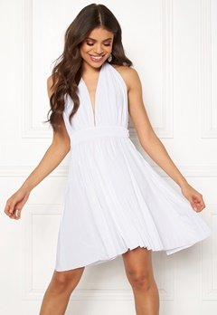 Goddiva Deep V Neck Skater Dress White Bubbleroom.no