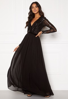 Goddiva Deep V Sequin Maxi Dress Black Bubbleroom.no