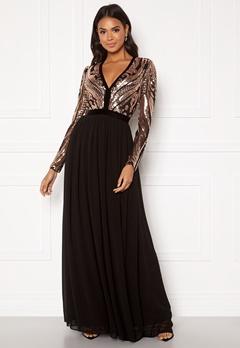 Goddiva Deep V Sequin Maxi Dress Champagne Bubbleroom.no