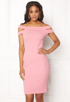 Goddiva Double Bardot Midi Dress Pink Bubbleroom.no