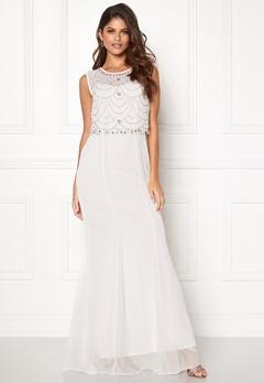 Goddiva Embellished Chiffon Dress Cream Bubbleroom.no