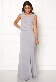 Goddiva Embellished Chiffon Dress Grey Bubbleroom.no
