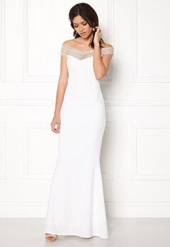 Goddiva Embellished Maxi Dress White Bubbleroom.no