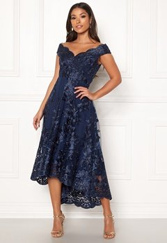 Goddiva Embroidered Lace Dress Navy Bubbleroom.no