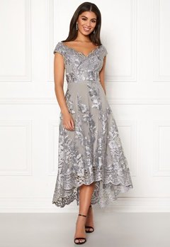 Goddiva Embroidered Lace Dress Silver Bubbleroom.no