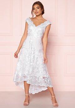 Goddiva Embroidered Lace Dress White Bubbleroom.no