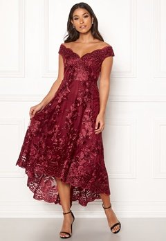 Goddiva Embroidered Lace Dress Wine Bubbleroom.no